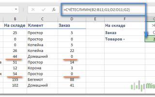 Excel функция счетеслимн