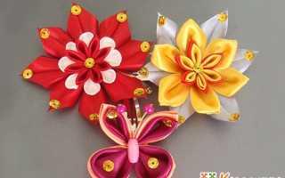 Цветы в стиле канзаши мастер класс