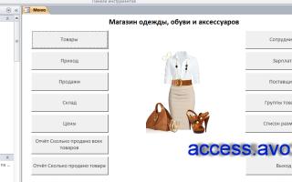 Таблица access магазин